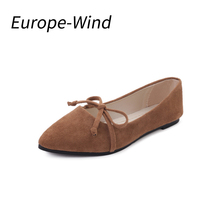 Europewind 2018 Women Suede Flats Fashion Basic Mixed Colors Pointy Toe Ballerina Ballet Flat Slip on Shoes High Quality