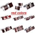 Alta qualidade venda Hot Stamping Gemelos Mens padrão Desinger marca de luxo esmalte vermelho abotoaduras frete grátis