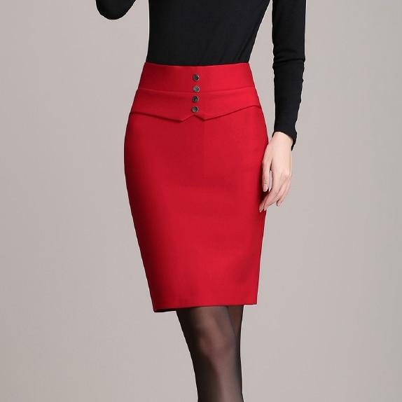 cdab692a3573 TingYiLi Button Front Pencil Skirt Elegant Ladies Work Skirts Womens Plus  Size Red Black Mini Skirt