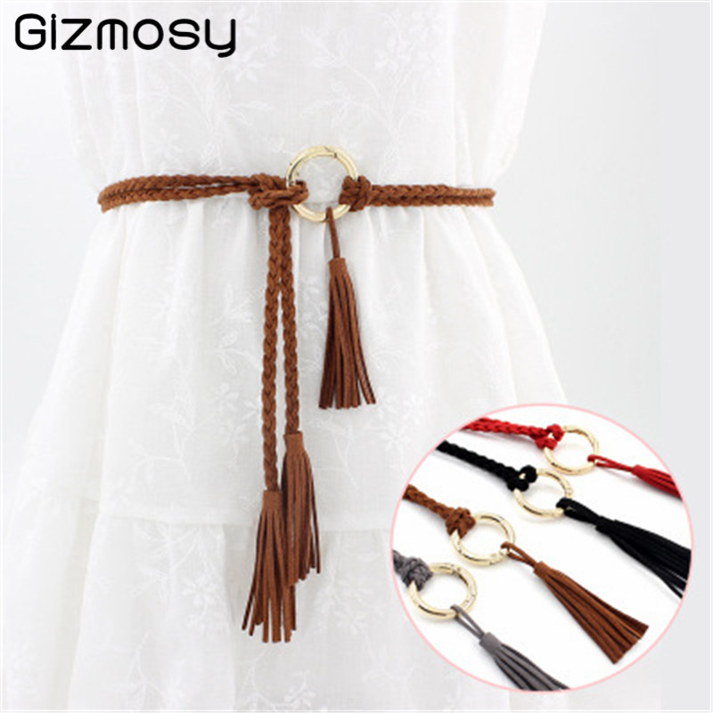 Women's   Belt   Solid Color Round Shape Buckle   Belts   Ethnic Style Knotted Waist Rope Tassel Decorative   Belt   for Dresses SY5031