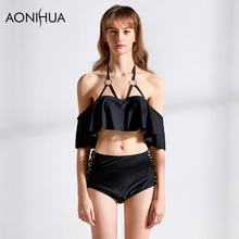 AONIHUA Bikini Bandage Cross Butterfly Sleeve Two Piece Set Solid Color Sexy Beach Wear Bathing Surfing Sport Swimwear