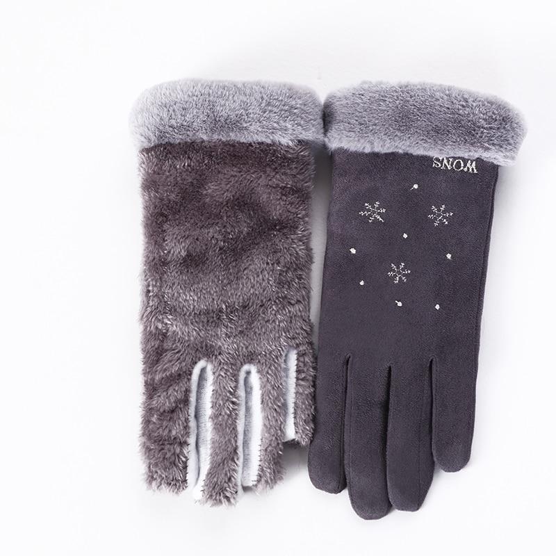 New Winter Female Double Thick Plush Wrist Warm Cashmere Cute Snowflake Mittens Women Flexibility Touch Screen Driving Glove 81E