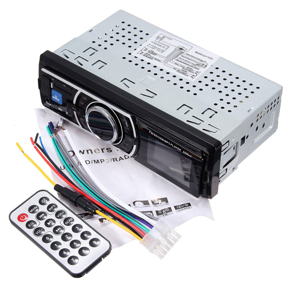 New Auto Car Stereo Audio In Dash Aux Input Receiver with SD USB MP3 FM Radio Player With remote control DC 12 14.4V