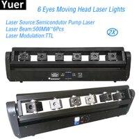 2 шт./лот 6 глаза Перемещение лазерной головки огни лазерный Beam500MW * 6 шт оборудование для дискотек ди джей проектор вечерние клубный лазер осв