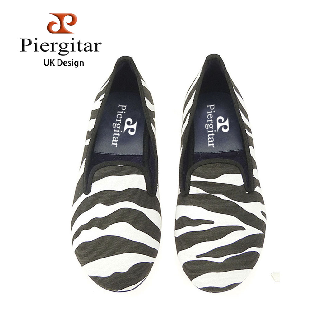 Piergitar new style Handmade women fabric shoes design of zebra-stripe prom and banquet Loafers Party women's flats size us5-11 stylish zebra stripe and rivets design women s satchel page 6