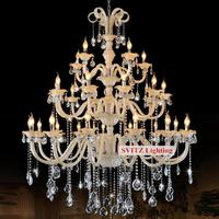 30 Pcs Modern Large White Crystal Chandelier Light For Hotel Lobby Church E14 Led Lustres Candle