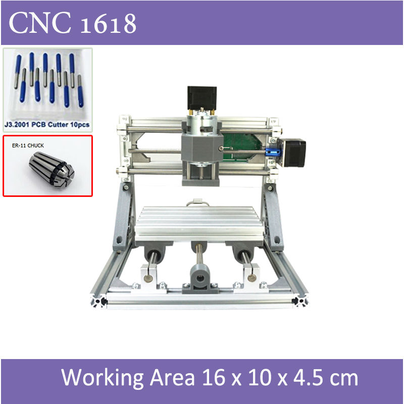Mini CNC1610 Engraver with ER11 Chuck With Laser Option of 500mw 2500mw 5500 mw For Pcb Milling Wood Soft Metal Engraving cnc 3018 standard with optional laser of 500mw 2500nw 5500 mw laser cnc engraving machine for pcb scribing milling wood router