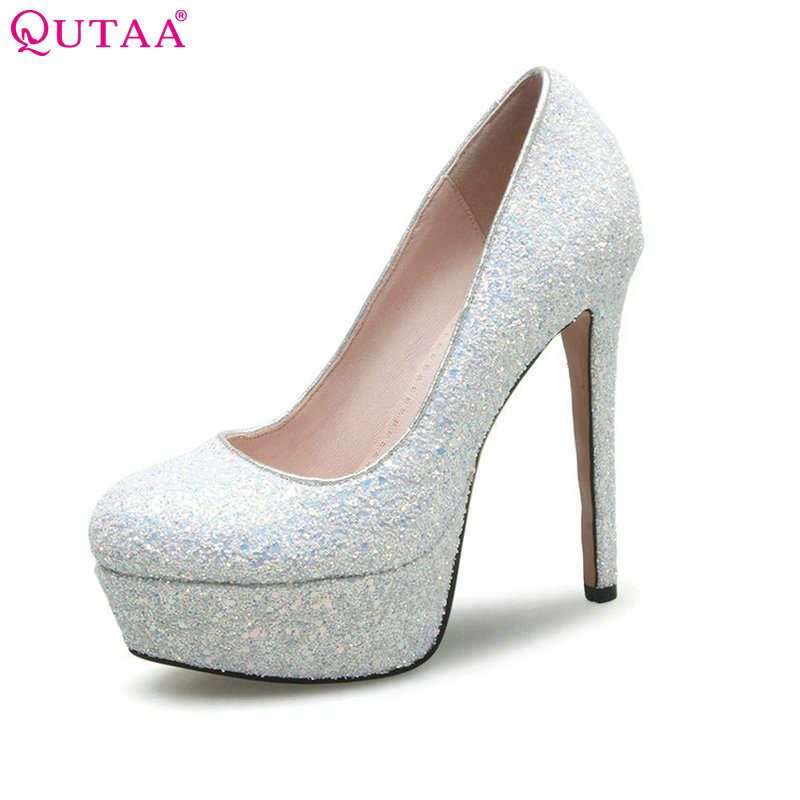 QUTAA 2017 Women Pumps Summer Ladies Shoes Sexy Thin High Heel Round Toe Platform Gray Fashion Woman Wedding Shoes Size 34-39 women high heel shoes brand quality platform round toe pumps ladies fashion sexy gladiator rivets shoes women size 35 46 b195