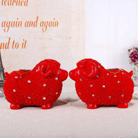 European Lucky Couple Sheep Piggy Bank Figurines Creative Red Sheep Model Living Room Home Decor Accessories Crafts Wedding Gift