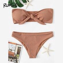 Romwe Sport Knot Front Bikini Set 2018 Summer New Brown Sexy Swimwear Ladies Knot Bandeau Beach Bikinis