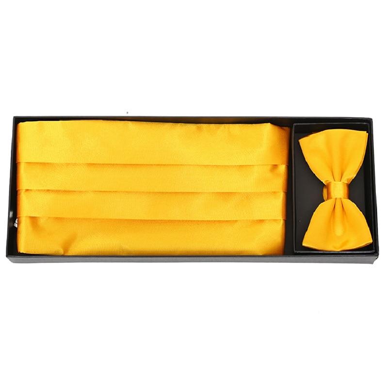Ceremonial Belt Handkerchief Bow Tie Cummerbunds Girdle Pocket Square 3pcs In 1