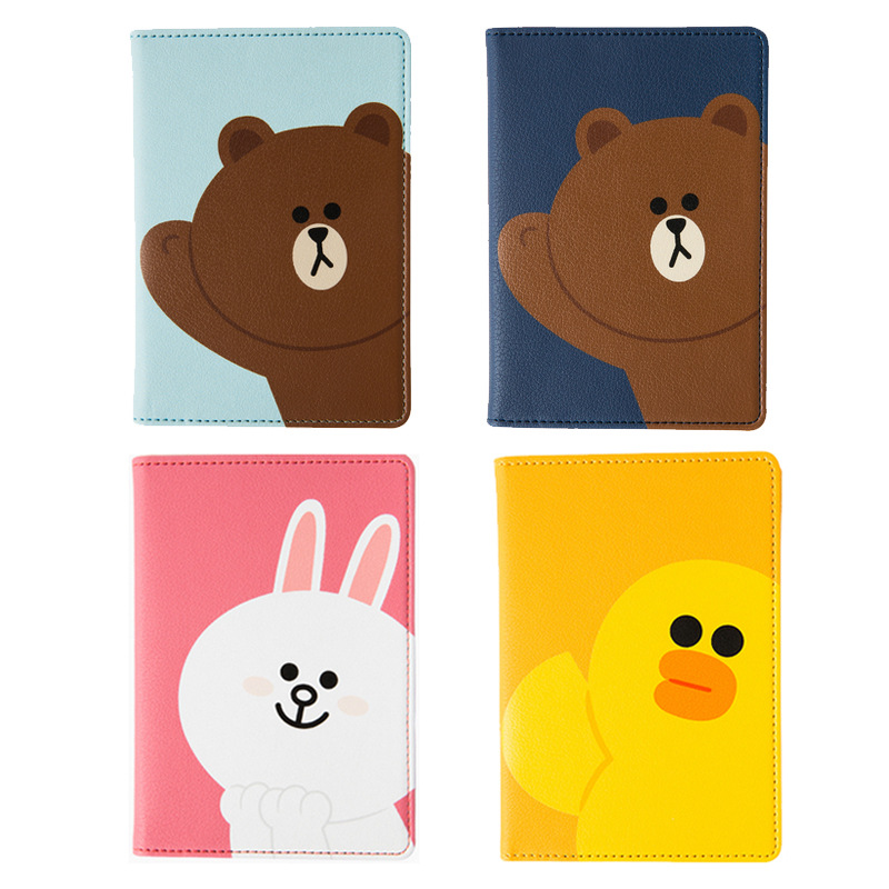 Cartoon Brown Bear PU Leather Travel Passport Cover Wallet Function Credit Card Package Id Holder Storage Money Organizer Clutch