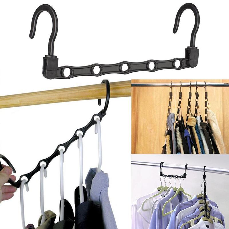 1pc Black Space Saving Hanger Plastic Loset Hook Cloth Hanger Wardrobe Organizer Space Saver Bathroom Door Kitchen Towel Holder