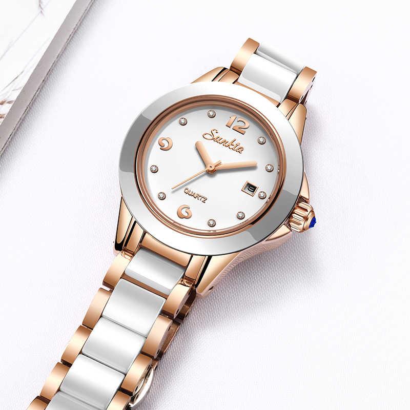 SUNKTA2019 Novas Mulheres De Quartzo Relógios Top Marca de Luxo Ocasional Das Senhoras Vestido Relógio das Mulheres de Cerâmica Relógio À Prova D' Água Relogio feminino