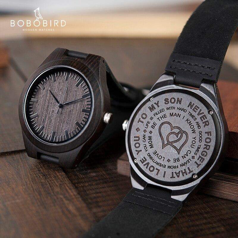 Saatler'ten Kuvars Saatler'de Ahşap oyma erkek izle aile hediyeler kişiselleştirilmiş saatler özel Groomsmen hediye için harika bir hediye erkekler Drop Shipping title=