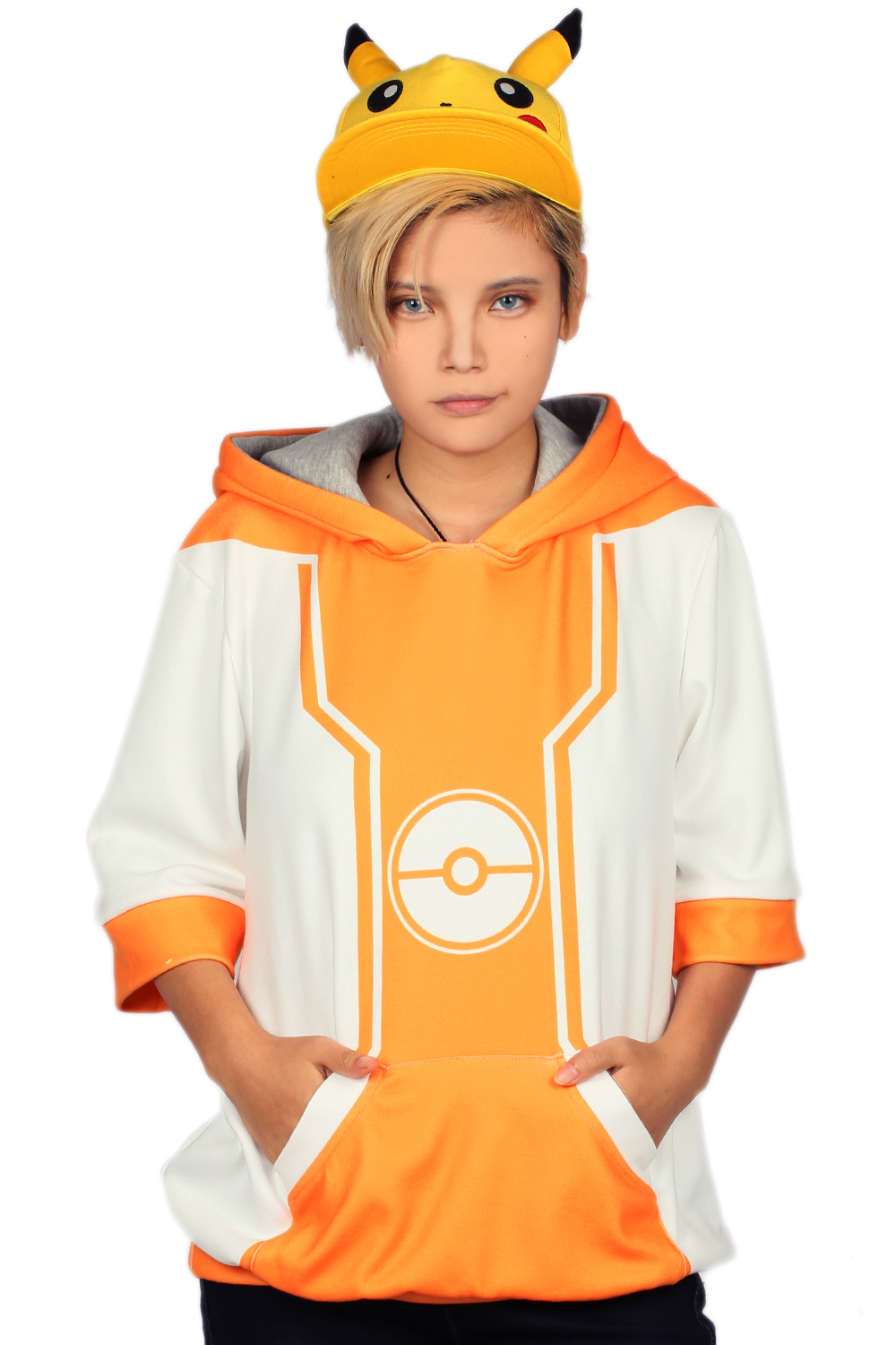 XCOSER The Hot Game Pokemon GO Hoodie Half Sleeve Pullover Cosplay&Halloween Costume for Teenagers