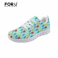 FORUDESIGNS Men Flats Shoes Casual Men's Sneakers Cartoon Cute Cleaners Pattern Comfortable Air Mesh Shoes for Teenage Boys Male