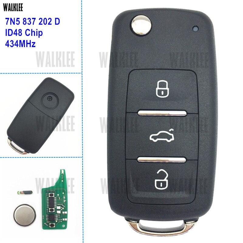 WALKLEE 7N5837202D Fernautoschlüssel 434 MHz für SITZ 7N5 837 202 D Alhambra/Altea/Ibiza/Leon/Mii/Toledo ID48 Transponder Chip