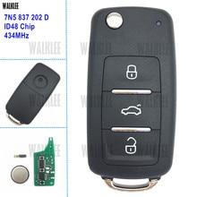 WALKLEE 7N5837202D 7N5 Chave Do Carro Remoto 434 MHz para SEAT 837 202 D Alhambra/Altea/Ibiza/Leon/Mii/Toledo ID48 Chip de Transponder