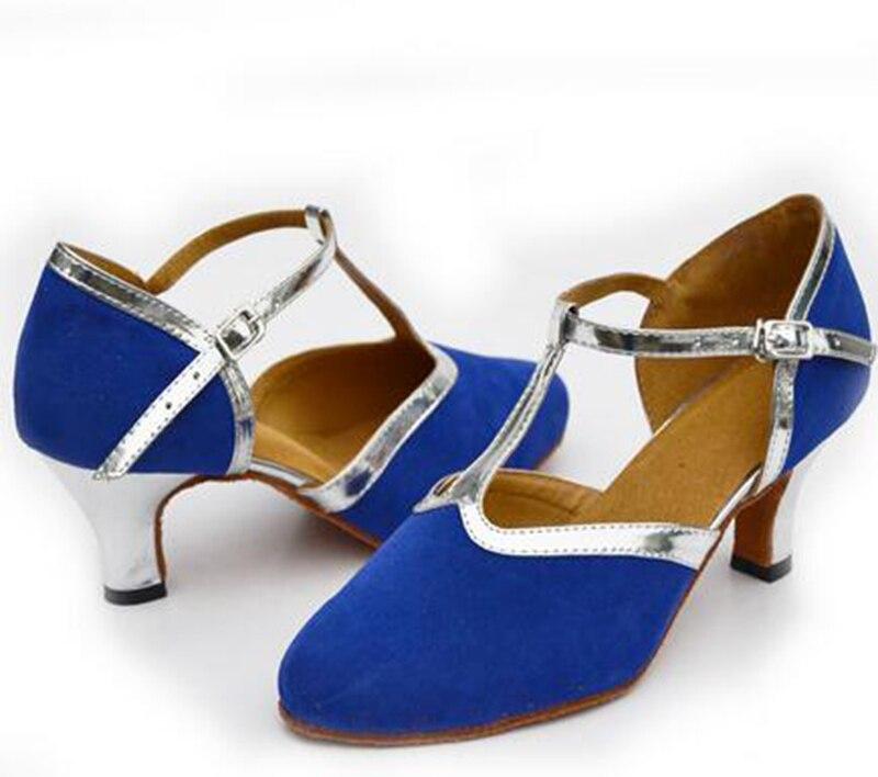 New Free Shipping Blue Suede Closed Toe Dance Shoe Ballroom Salsa Latin Waltz Tango Bachata Dancing Shoes ALL Size