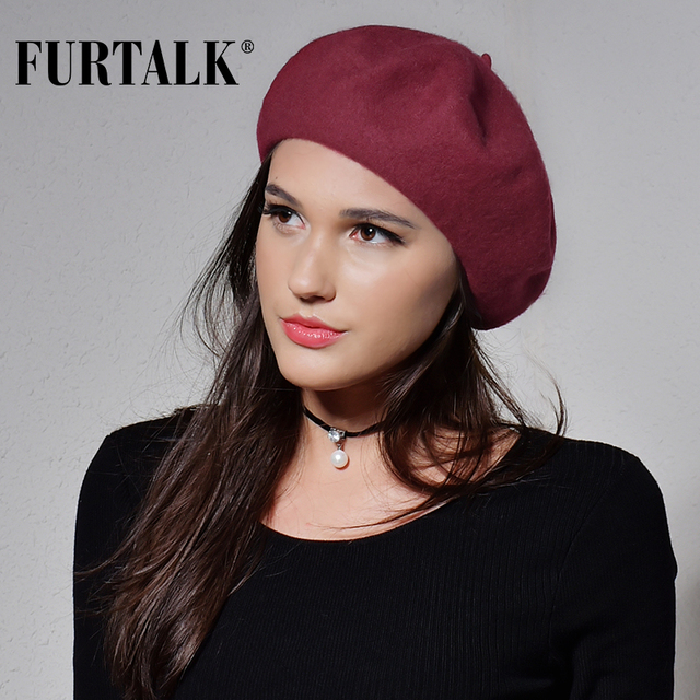 FURTALK 100% wool beret hat for women winter warm hats for girls 2017 new arrivals