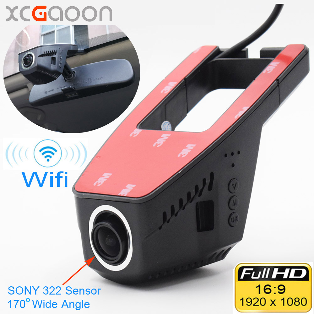 XCGaoon Wifi Bil DVR Registrator Digital Videobandspelare Videokamera Dash Camera 1080P Nattversion Novatek 96655, Cam Can Rotate