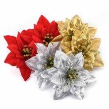 3 шт/15 см большие искусственные золотые, серебряные, красные розы, цветочные головки для дома, свадебные украшения, сделай сам, Рождественская елка, шелковые цветы