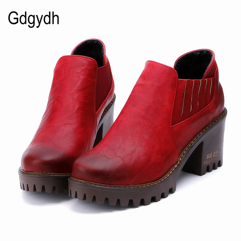 Gdgydh Round Toe Women Shoes Autumn Platform Female Pumps High Heels Spring Fashion Casual British Ladies Shoes Large Size 34-43 xiaying smile woman pumps shoes women spring autumn wedges heels british style classics round toe lace up thick sole women shoes
