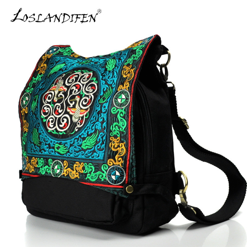 New Embroidered Backpack Chinese Style Dragon Pattern Canvas Embroidery Women's Bag Black Cover Zipper Pocket Embroider Bags