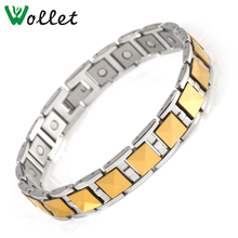 2014 new product fashion Shenzhen Magnet negative ion  Infrared germanium tourmaline gold plated men magnetic tungsten bracelet
