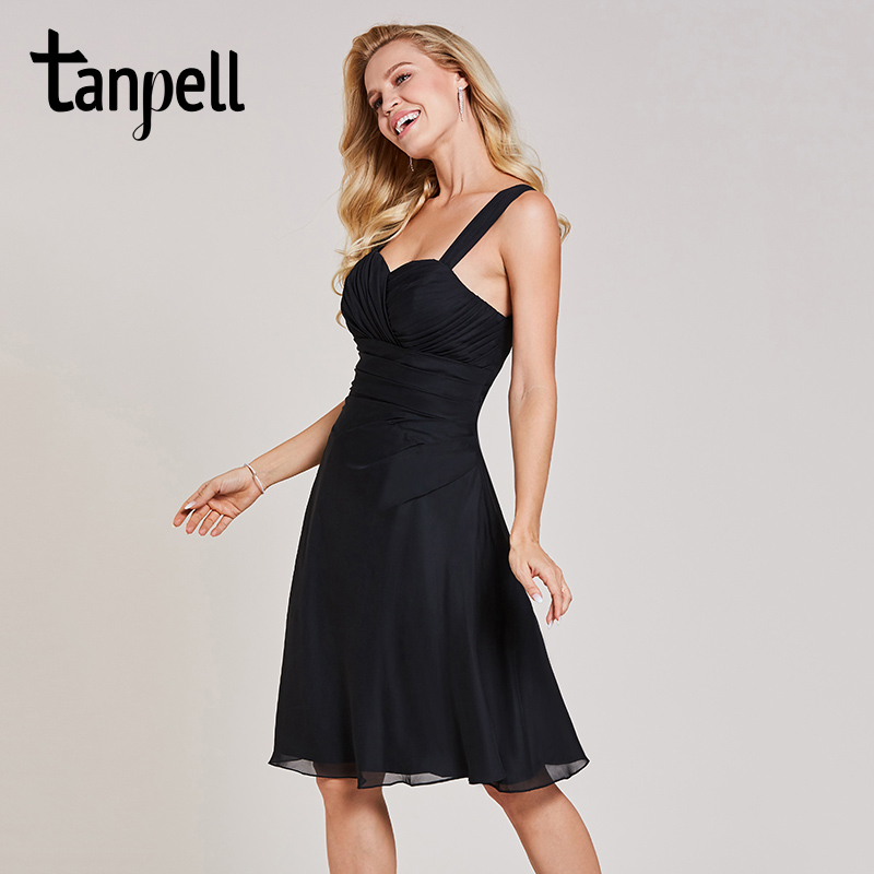 Tanpell straps short cocktail dress sexy black sleeveless knee length a line gown women homecoming party