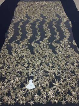 Gold fashion lace fabric guipure lace fabric bridal sequins french net lace embroidered Sequin Lace fabric