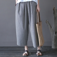 Women Harem Pants Plaid Print Elastic Waist Cotton Trousers Casual Loose Women Wide Leg Pants Pleated Autumn Pants