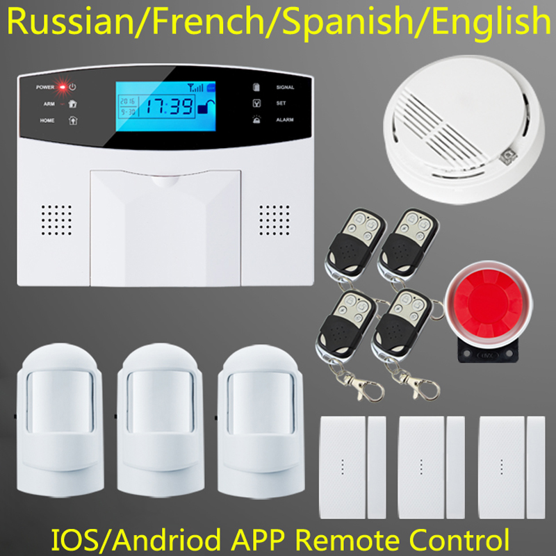 free shipping Intercom home security wireless GSM alarm system 2 year warranty 900/1800/1900MHZ with Russian/French/ Spanish