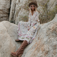 KHALEE YOSE Wild Floral Midi Dress Autumn Holiday Dress Ruffle Trim Drawstring Elastic Waist Long Sleeve Hippie Boho Dresses