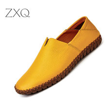 2018 New Men Loafers Summer Fashion Casual Leather D Shoes Comfortable Flats Non-slip Breathable