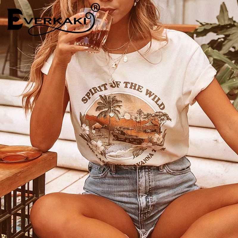Everkaki Boho Chic Fashion Women Cotton Tops O-neck Trees Print Letter T-shirts Ladies Short Sleeve Tee Shirt 2019 Female Top
