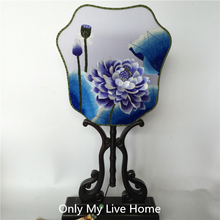 Personalized Silk Fans for Wedding Decoration Fan Hand Double Embroidery Fabric Gift Traditional Ebony Handle Chinese