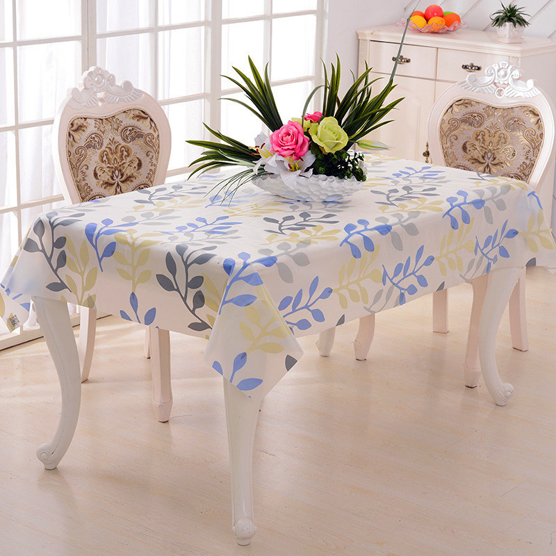 Pastoral PVC Square Table Cloth Waterproof Oilproof Floral Printed Lace  Edge Plastic Table Covers Anti Hot
