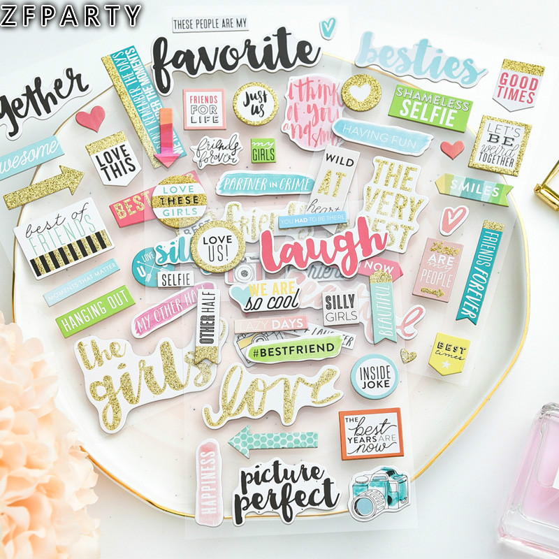 ZFPARTY 4sheets Laugh <font><b>3D</b></font> Die Cut Self-adhesive <font><b>Stickers</b></font> <font><b>for</b></font> <font><b>Scrapbooking</b></font> Happy Planner/Card Making/Journaling Project image