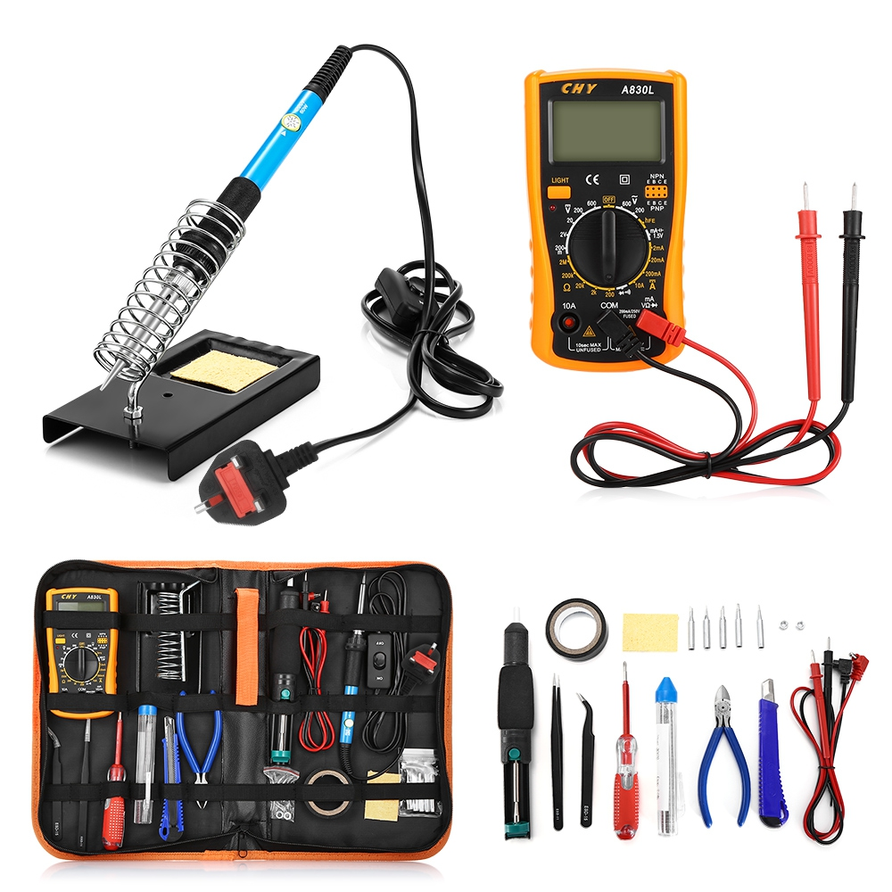 Hand-Tools-Set Electronic-Devices-Kit Digital-Multimeter Multi-Use Soldering-Iron Lcd-Screen