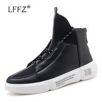 LFFZ Unique Design Lace up Sneakers Men Vulcanize Shoes Waterproof Cool Men Casual Shoes Flat Sewing Men Footwear Fashion Flats