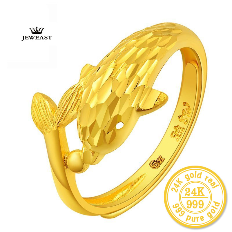 ZZZ 24K Pure gold guardian The dolphins Living circle For women gold ring personality Unique lovely Small dolphins 999 solid dolphins 1 how s the weather