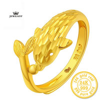 ZZZ 24K Pure gold guardian The dolphins Living circle For women gold ring personality Unique lovely Small dolphins 999 solid