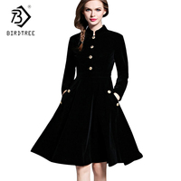 Plus Size Winter Dresses Black Velvet Dress Women Vintage Long Sleeves Audrey Hepburn Ladies Office Robe Dresses D7D102A