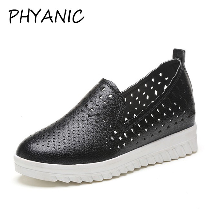 PHYANIC 2018 New Breathable Leather Shoes Woman Summer Hollow Out Fashion Casual Shoes Slip On Round Toe White Shoes CPW3183 phyanic 2017 gladiator sandals gold silver shoes woman summer platform wedges glitters creepers casual women shoes phy3323