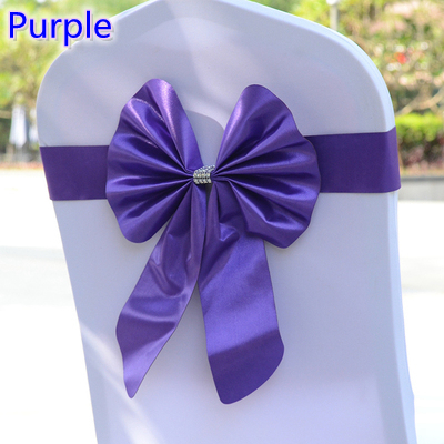 satin butterfly bow tie,stretch sash can fit all banquet chairs,satin chair sash purple colour lycra spandex ribbon nord on sale