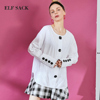 ELF SACK White Long Sleeve Women Blouses Frmale OL Buttons Basic Worker Drop Shoulder Loose Top Ladies Long Sleeve Shirts