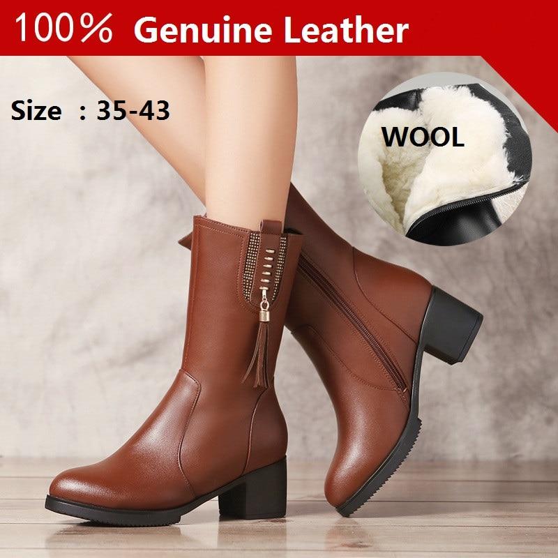 Size25 Laine wool En Grand Cuir De 111 Femmes Wool Haute Plus Véritable Qualité 62 Bottes Moto SZ0xqwRz