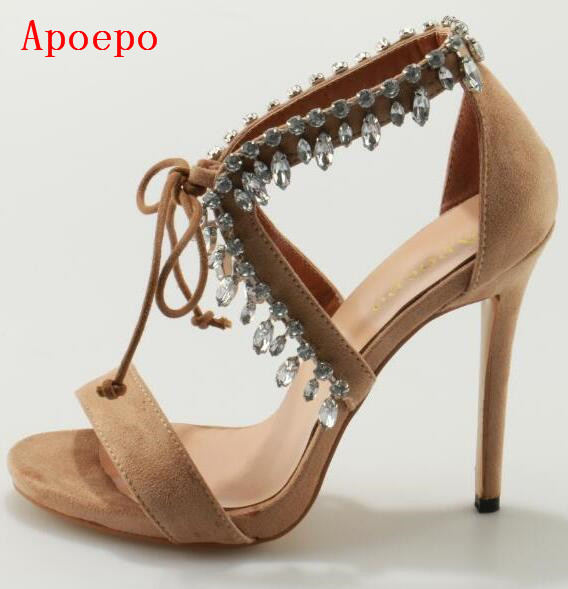 Designer Crystal Ankle Strap Women Sandals High Heel Lace-up Cut-out Beige/Black Summer Dress Shoes Women Bried Pumps Free Ship high quality suede leather strappy sandal high heel cut out ankle strap lace up summer dress shoes zapatos dress shoes for women